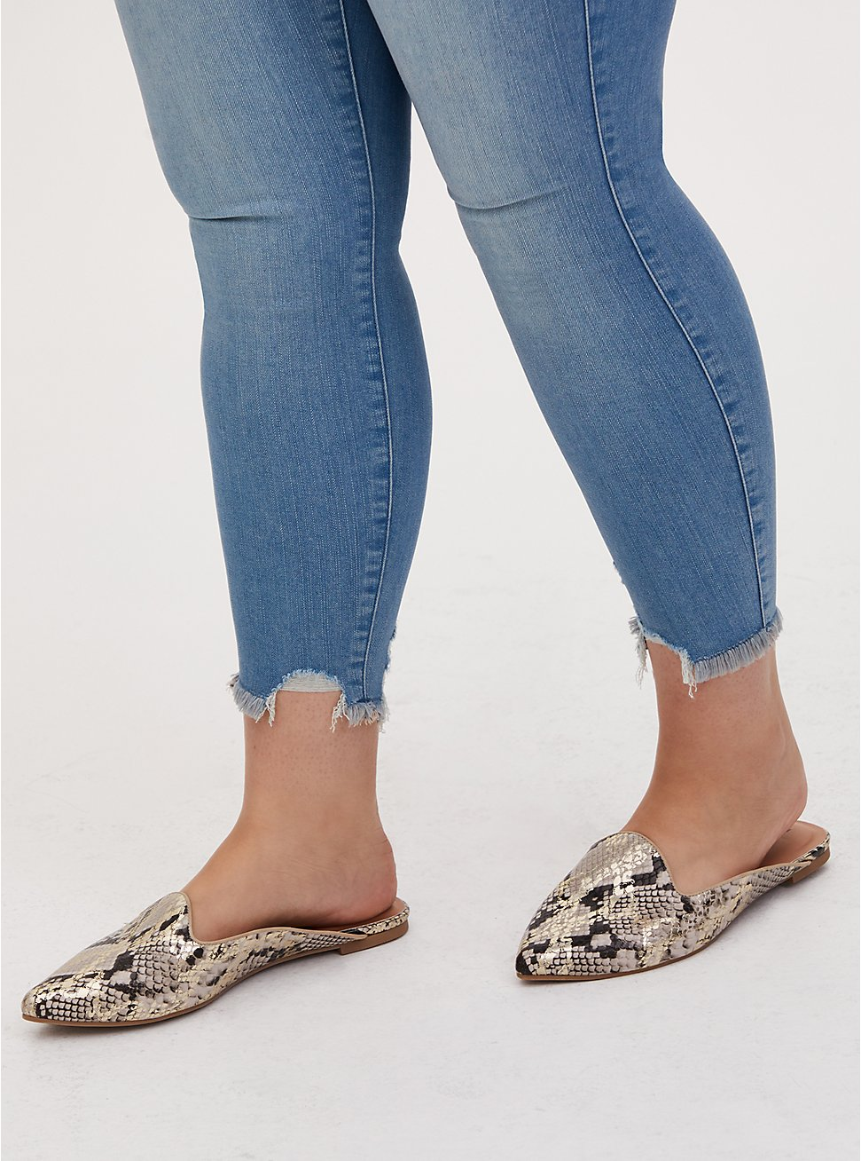 Snakeskin Print Faux Leather Pointed Toe Mule Loafer (WW), ANIMAL, hi-res