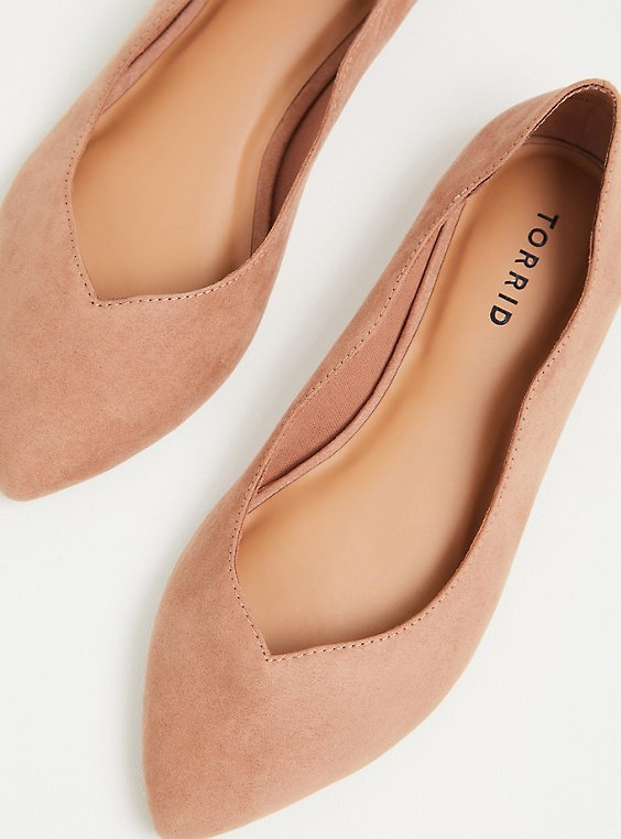 Blush Pink Faux Suede Scalloped Pointed Toe Flat (WW), , hi-res