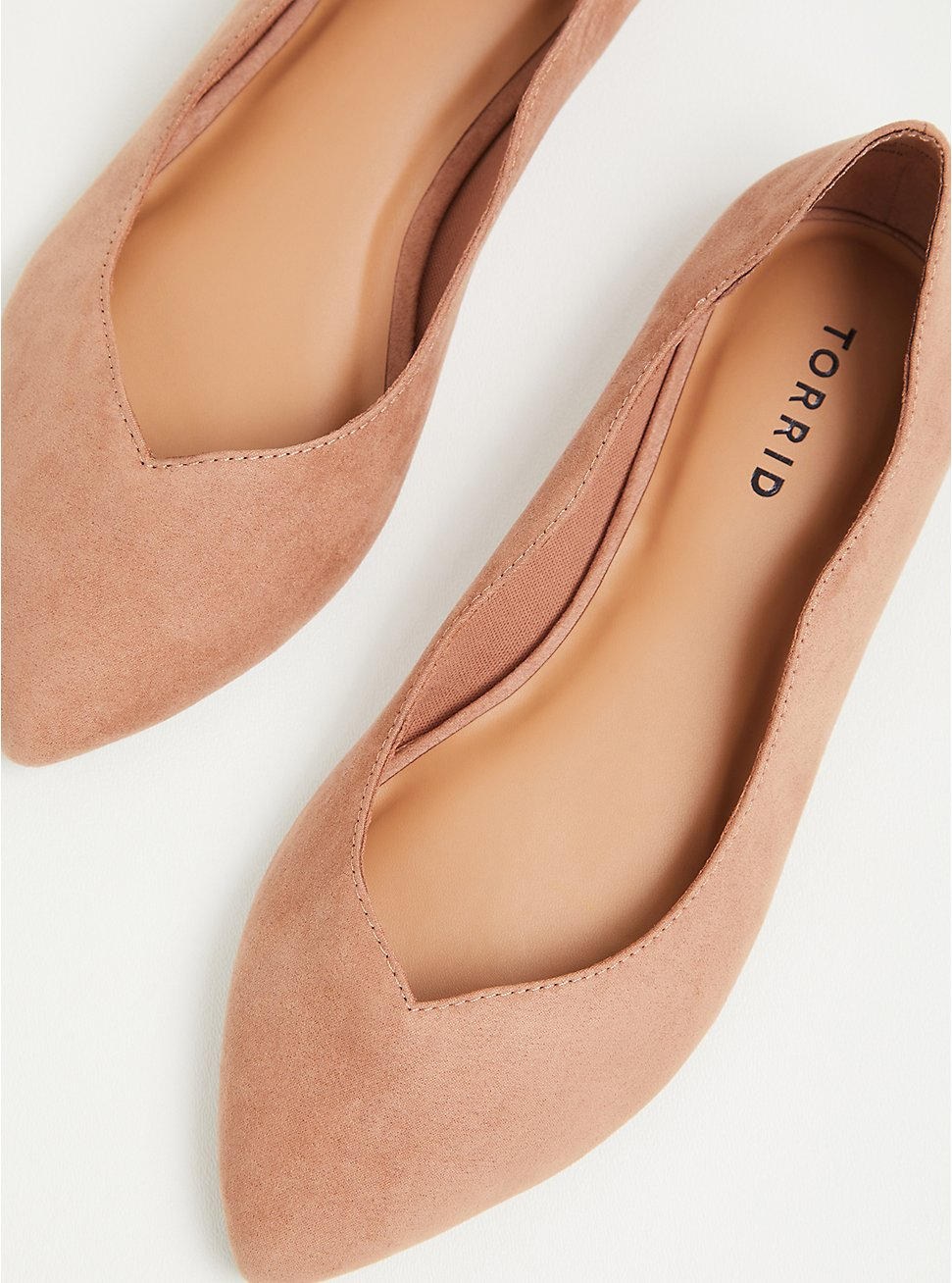 Blush Pink Faux Suede Scalloped Pointed Toe Flat (WW), BLUSH, hi-res