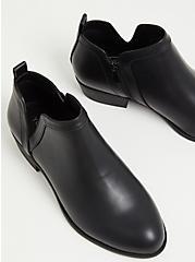 Black Faux Leather V-Cut Ankle Boot (WW), BLACK, alternate