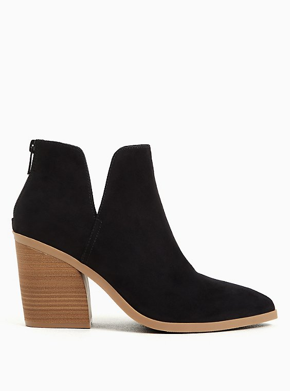 Black Faux Suede Pointed Toe V-Cut Bootie (WW), , hi-res