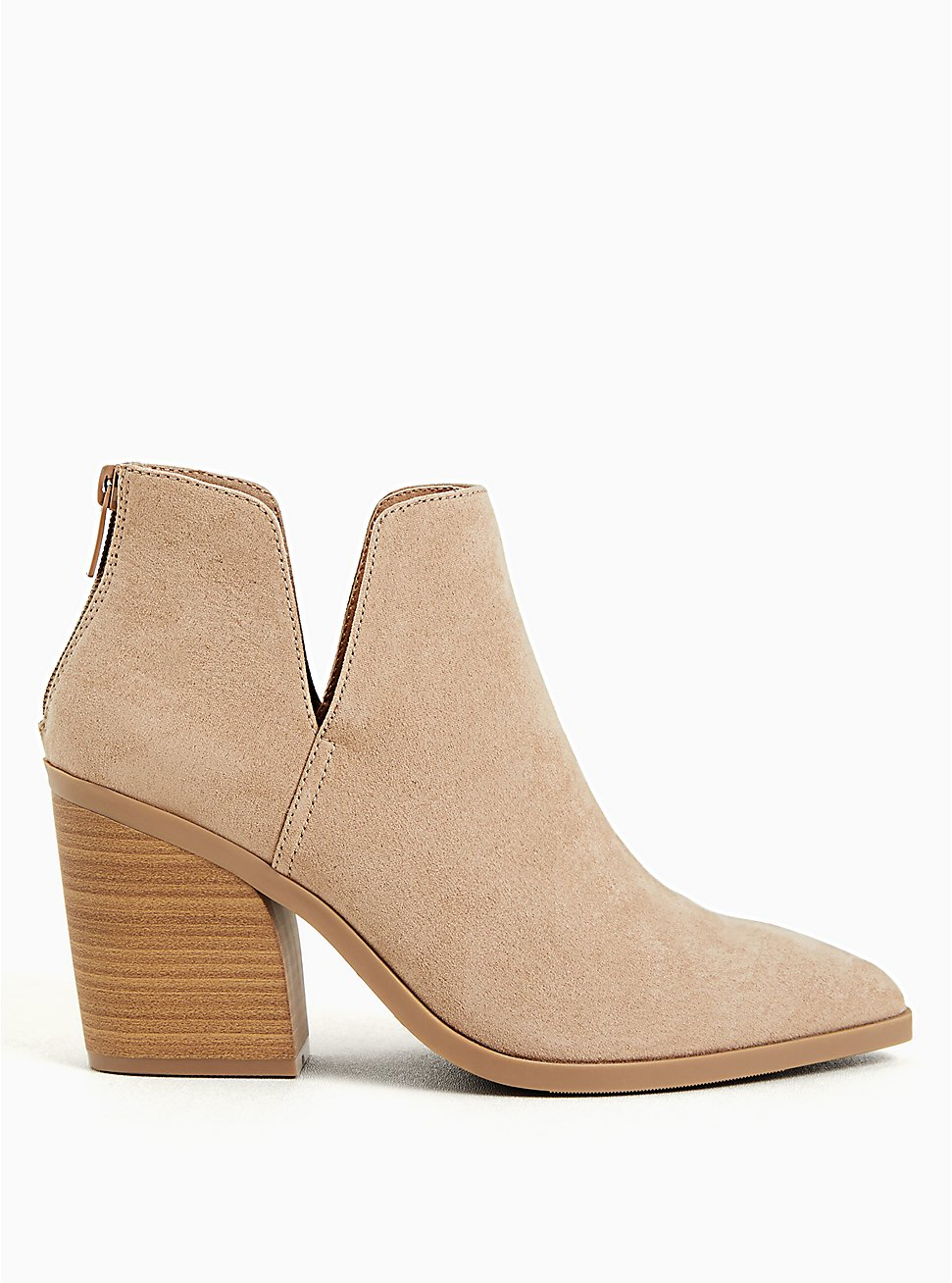 Taupe Faux Suede Pointed Toe V-Cut Bootie (WW), , hi-res