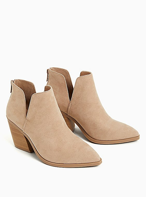 Taupe Faux Suede Pointed Toe V-Cut Bootie (WW), TAUPE, ls
