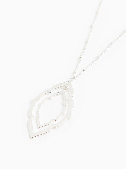 Silver-Tone Scalloped Pendant Necklace, , hi-res