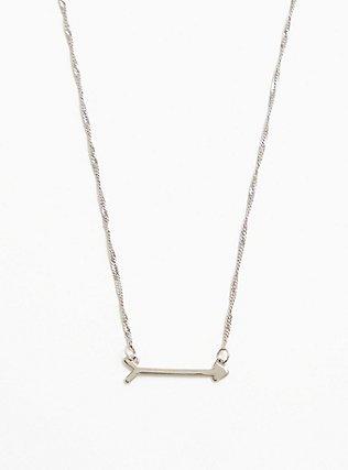 Silver-Tone Arrow Necklace, , alternate