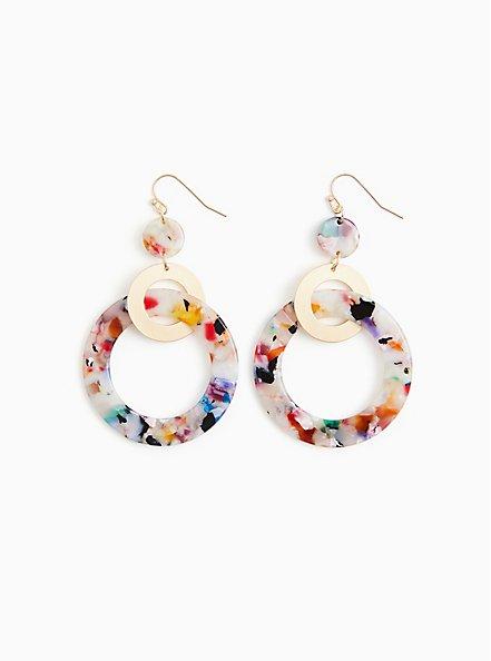 Multi Resin Circle Statement Earrings, , hi-res
