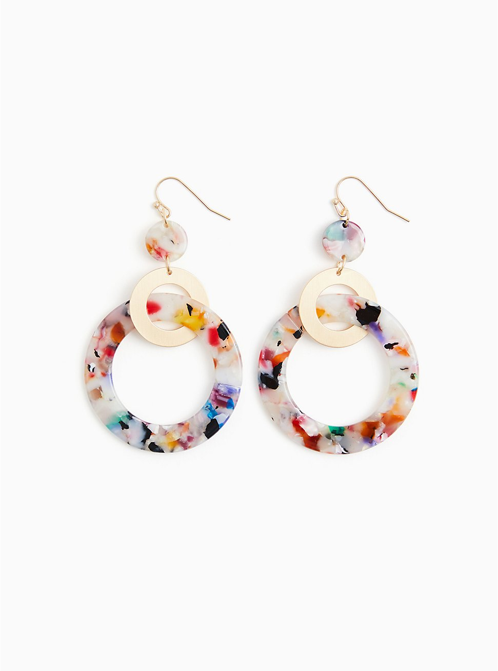 Multi Resin Circle Statement Earrings, , hi-res