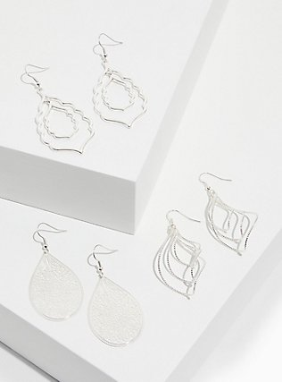 Silver-Tone Teardrop Earrings Set - Set of 3, , hi-res