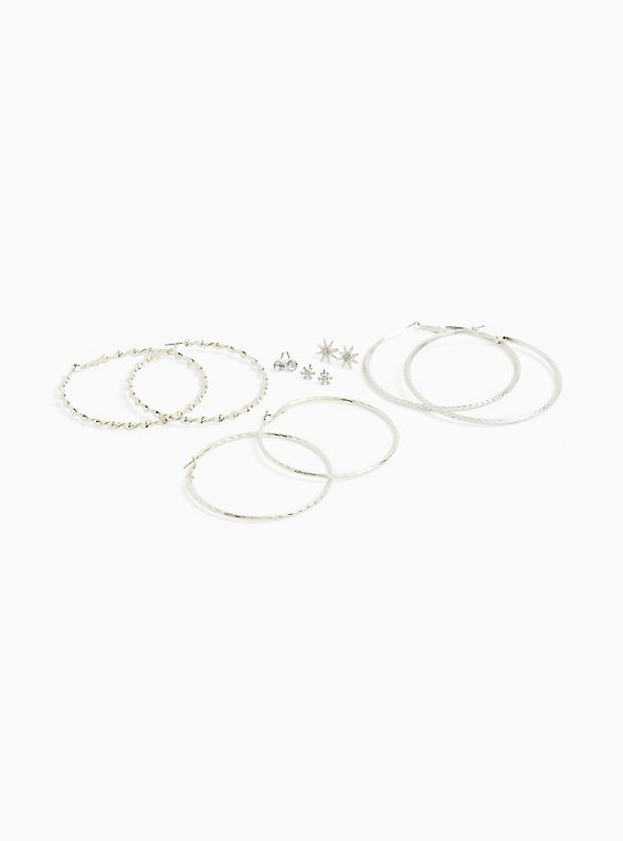 Silver-Tone Star Stud & Hoop Earrings Set - Set of 6, , hi-res