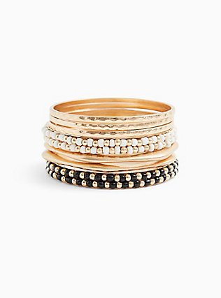Gold-Tone & Black Bead Bangle Set - Set of 7, GOLD, alternate