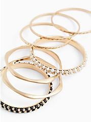 Gold-Tone & Black Bead Bangle Set - Set of 7, GOLD, hi-res
