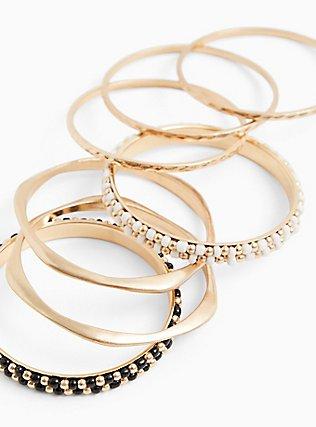 Plus Size Gold-Tone & Black Bead Bangle Set - Set of 7, GOLD, hi-res