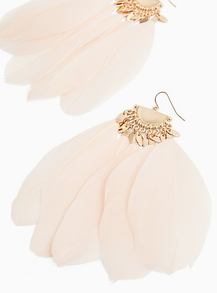 Light Pink Feather Statement Earrings , , alternate
