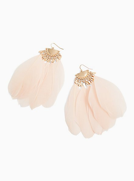 Light Pink Feather Statement Earrings , , hi-res