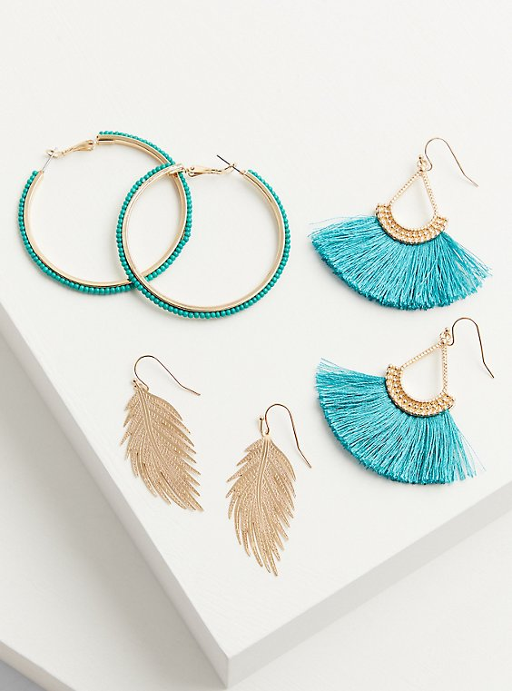 Turquoise Fringe Earrings Set – Set of 3, , hi-res