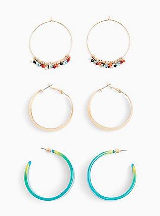 Multi Beaded Hoop Earrings Set - Set of 3, , alternate