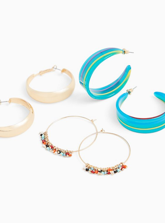 Multi Beaded Hoop Earrings Set - Set of 3, , hi-res