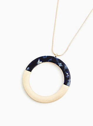 Plus Size Ivory & Navy Resin Circle Pendant Necklace, , hi-res