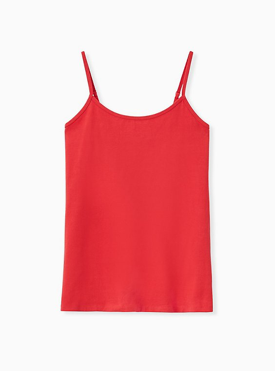 Plus Size Red Scoop Neck Foxy Cami, , hi-res