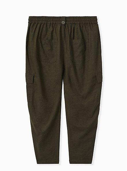 Crop Drawstring Cargo Pant - Linen Olive Green , DEEP DEPTHS, alternate