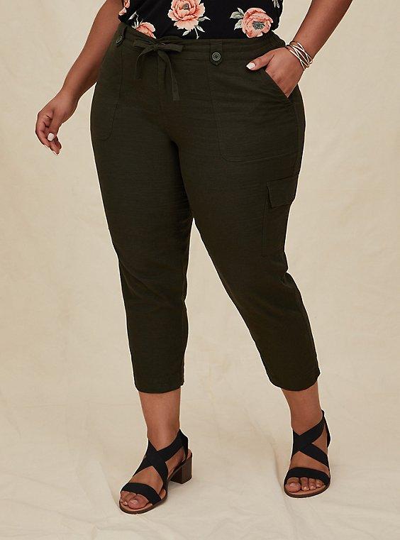 Plus Size Crop Drawstring Cargo Pant - Linen Olive Green , , hi-res