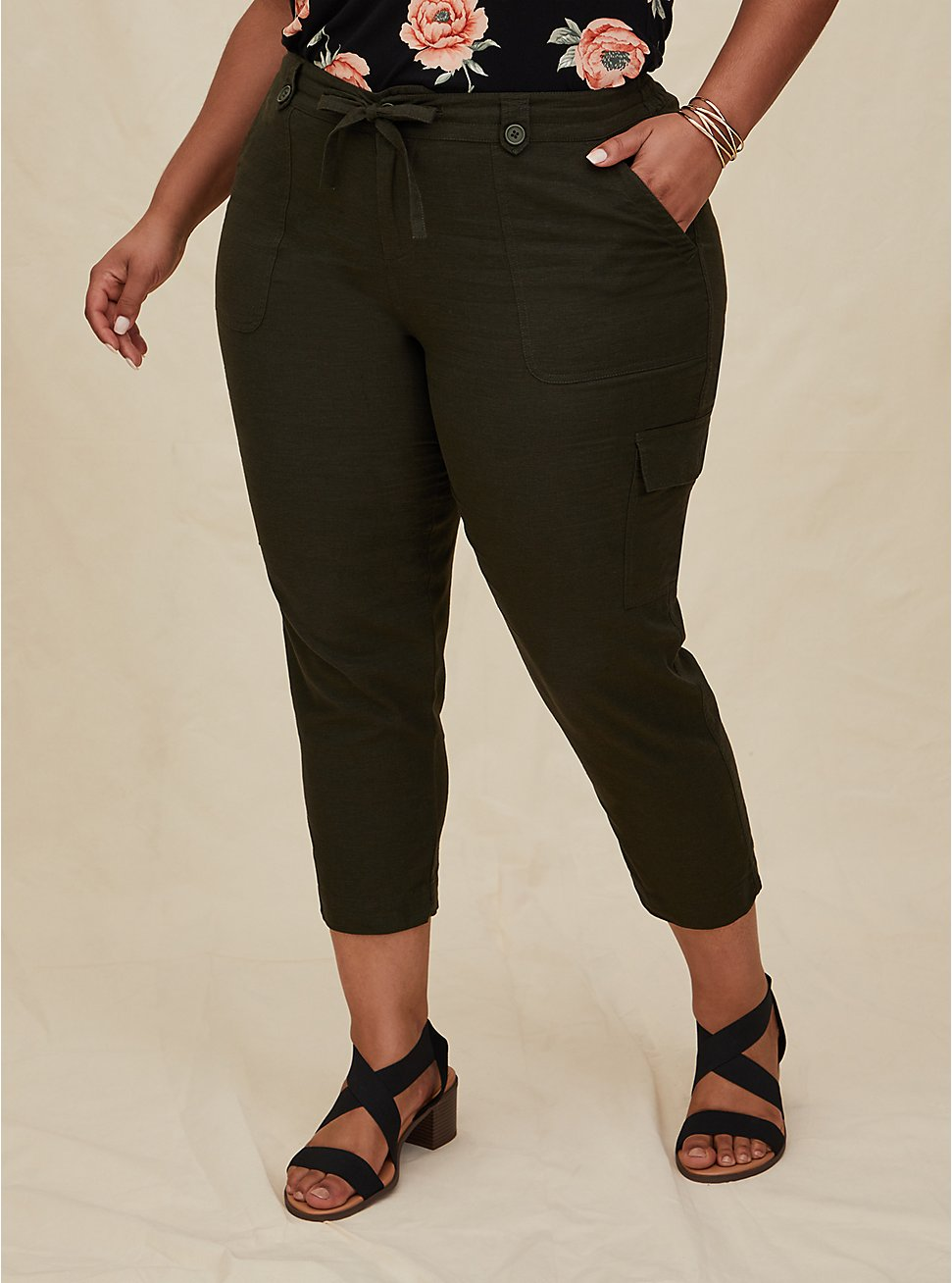 Crop Drawstring Cargo Pant - Linen Olive Green , DEEP DEPTHS, hi-res