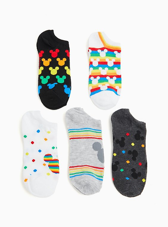 Mickey Mouse Rainbow Ankle Socks Pack - Pack of 5, , hi-res