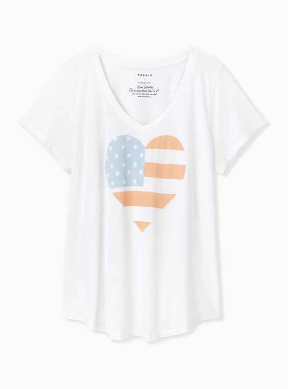 American Heart V-Neck Tee , , hi-res