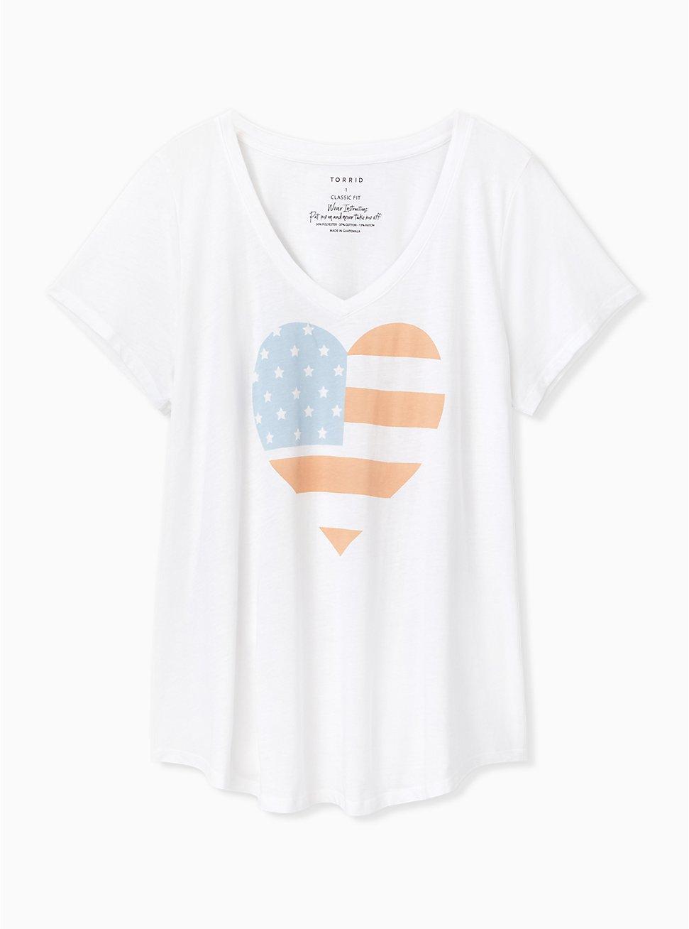 American Heart V-Neck Tee , CLOUD DANCER, hi-res