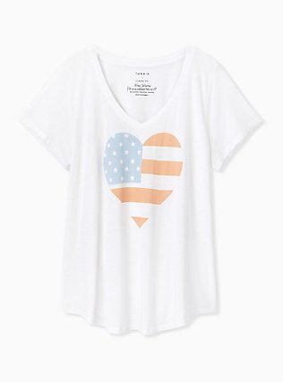 White American Heart V-Neck Tee , CLOUD DANCER, hi-res