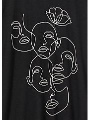 Line Faces & Flower Crew Tee - Heritage Cotton Black, DEEP BLACK, alternate