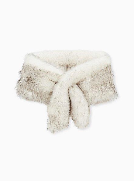 Plus Size Disney 101 Dalmatians Cruella Special Occasion Ivory Faux Fur Stole, IVORY, hi-res