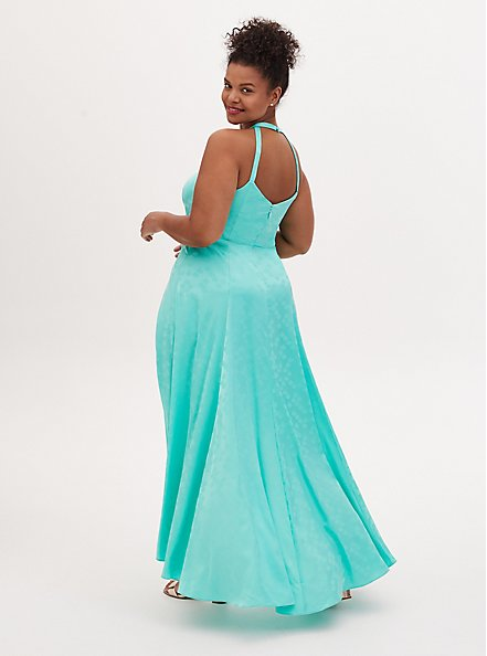 Disney The Little Mermaid Ariel Special Occasion Turquoise Hi-Lo Gown, GREEN, alternate