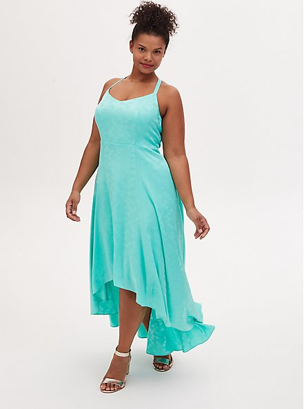 Disney The Little Mermaid Ariel Special Occasion Turquoise Hi-Lo Gown, GREEN, hi-res