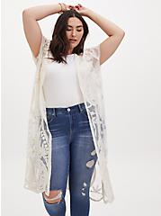 White Mesh Embroidered Longline Kimono, IVORY, alternate