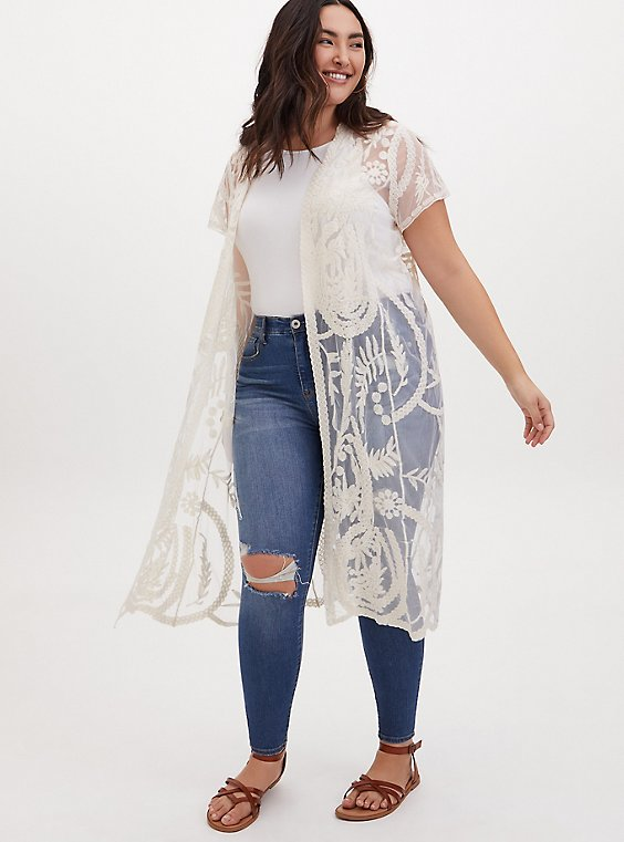 Plus Size White Mesh Embroidered Longline Kimono, , hi-res