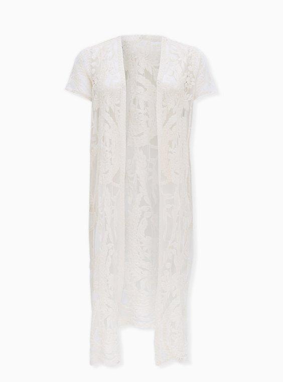 White Mesh Embroidered Longline Kimono, IVORY, ls
