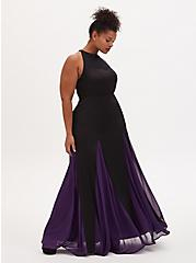 Disney The Little Mermaid Ursula Special Occasion Black & Purple Godet Gown , BLACK  PURPLE, hi-res