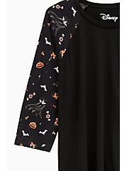 Plus Size Disney Mickey Mouse Treat Black Raglan Top, MULTI, alternate