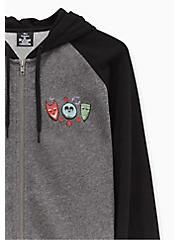 Disney The Nightmare Before Christmas Oogie Boogie Grey Zip Hoodie, HEATHER GRAY  BLACK, alternate