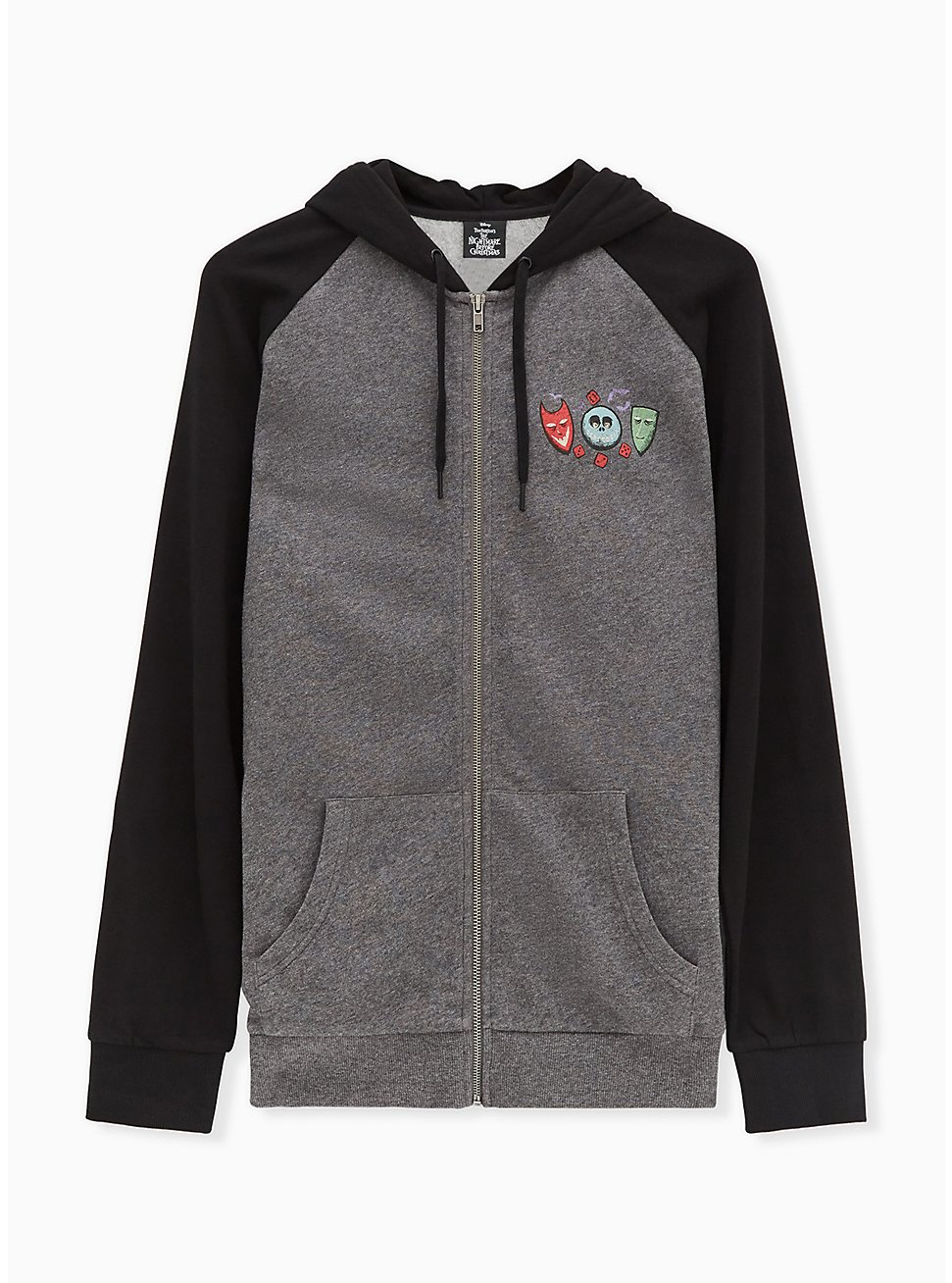 Disney The Nightmare Before Christmas Oogie Boogie Grey Zip Hoodie, HEATHER GRAY  BLACK, hi-res