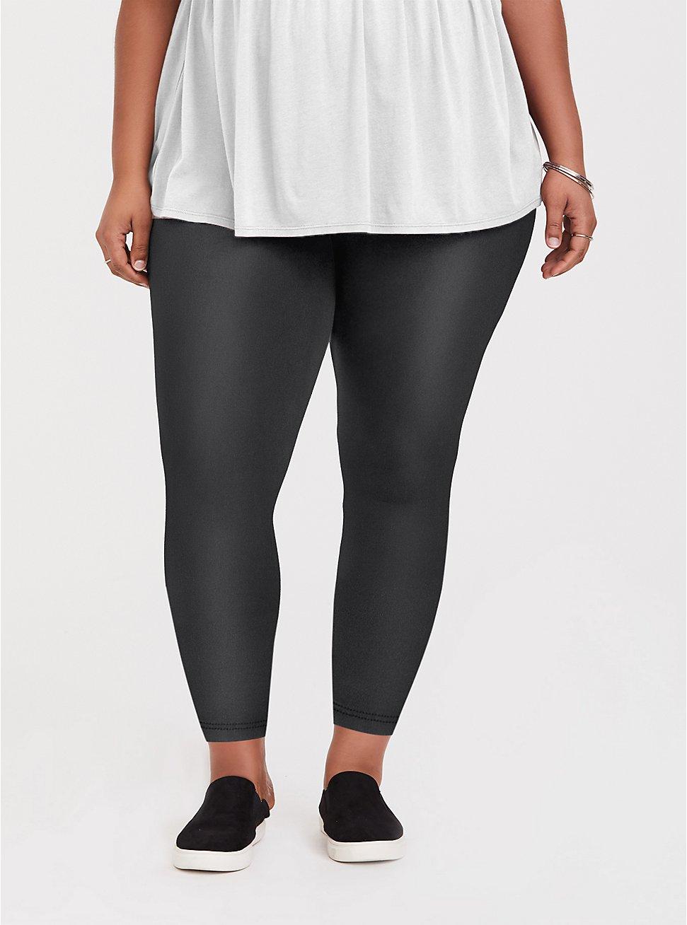 Crop Platinum Legging - Faux Leather Black, BLACK, hi-res