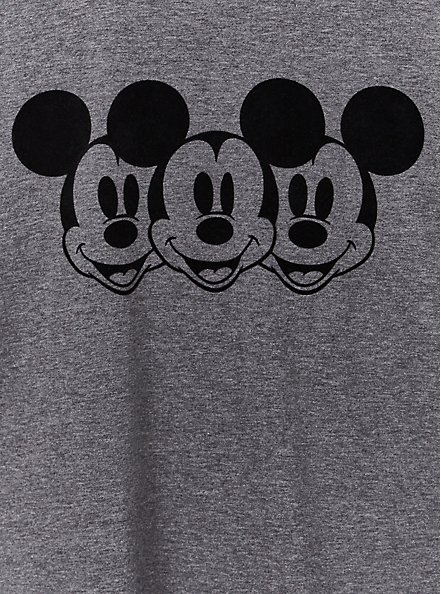 Disney Mickey Mouse Charcoal Grey Jersey Ringer Top, HEATHER GREY, alternate