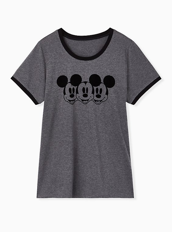 Disney Mickey Mouse Charcoal Grey Jersey Ringer Top, , hi-res