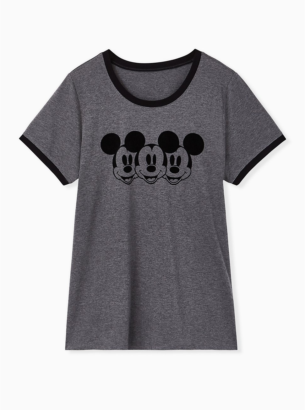 Disney Mickey Mouse Charcoal Grey Jersey Ringer Top, HEATHER GREY, hi-res