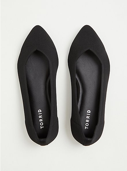 Black Stretch Knit Pointed Toe Flat (WW), BLACK, alternate
