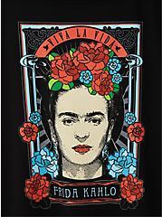 Frida Kahlo Viva La Vida Slim Fit Crew Tee - Black, DEEP BLACK, alternate