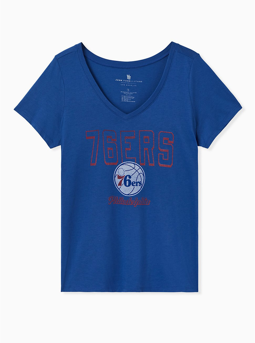 NBA Philadelphia 76ers V-Neck Tee - Blue, , hi-res