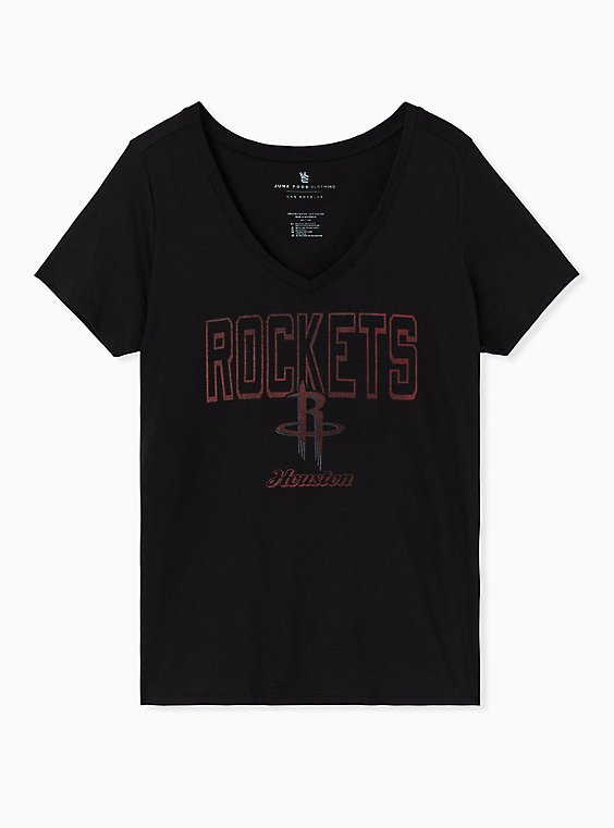 NBA Houston Rockets V-Neck Tee - Black, DEEP BLACK, hi-res