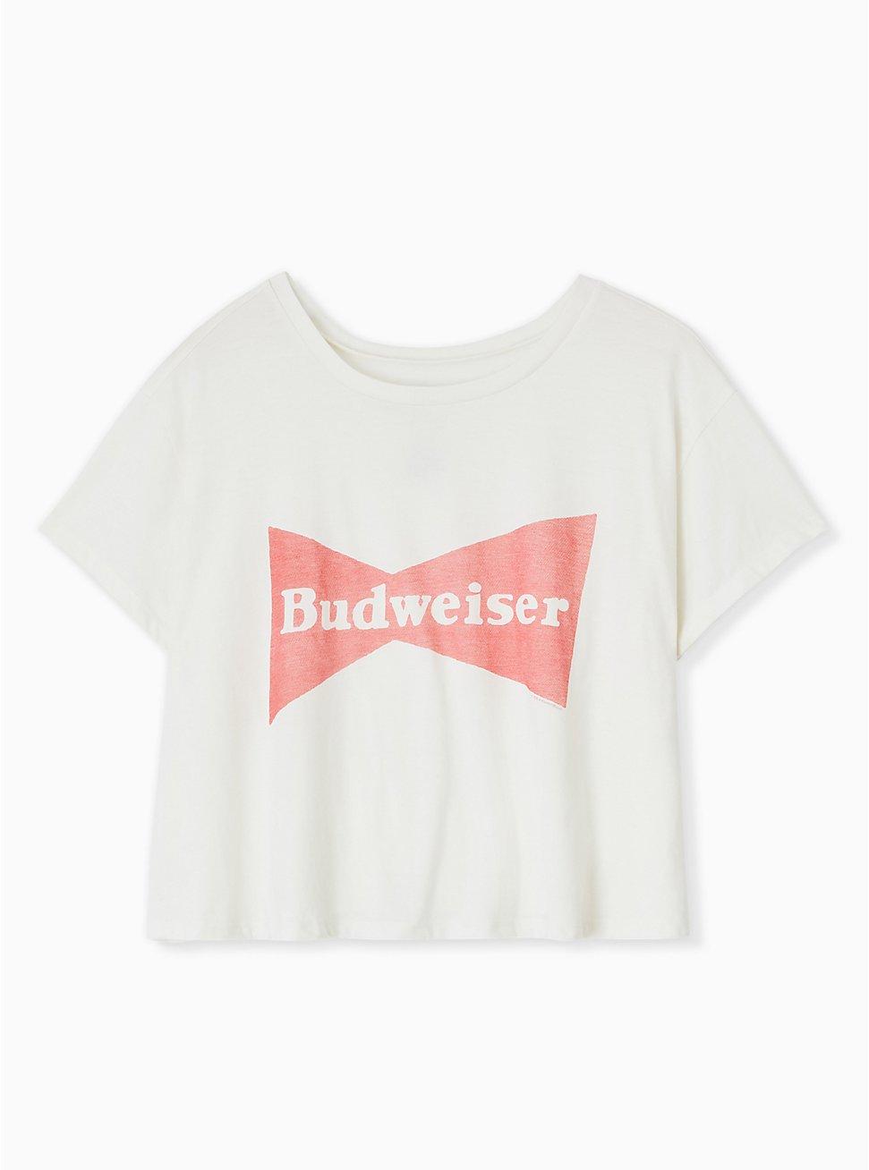 Budweiser Crop Crew Tee - Ivory, BRIGHT WHITE, hi-res